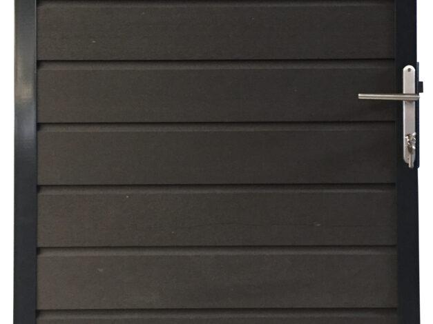 Showtuin gebruikte deur antraciet met rvs beslag en slot • stalen frame inclusief scharnieren • met stapelplanken • 90×180 cm