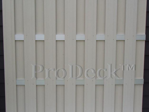 Luxe schutting • composiet • ivoorwit • 4 aluminium dwarsbalken • 180×180 cm • (nieuw maar vervuild door stof)