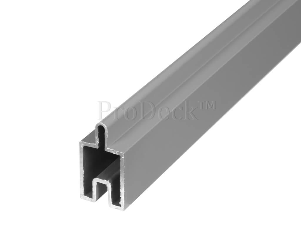 Grijs gecoate aluminium Beginstrip (ca 179,5x3,1x2,4cm) voor composiet zelfbouw schutting