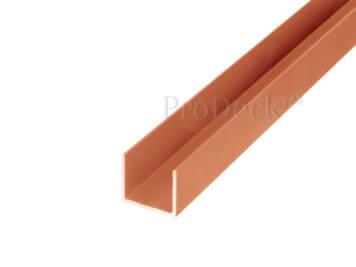 U-profiel • aluminium • bruin gecoat • 28×25 mm • lengte 200 cm