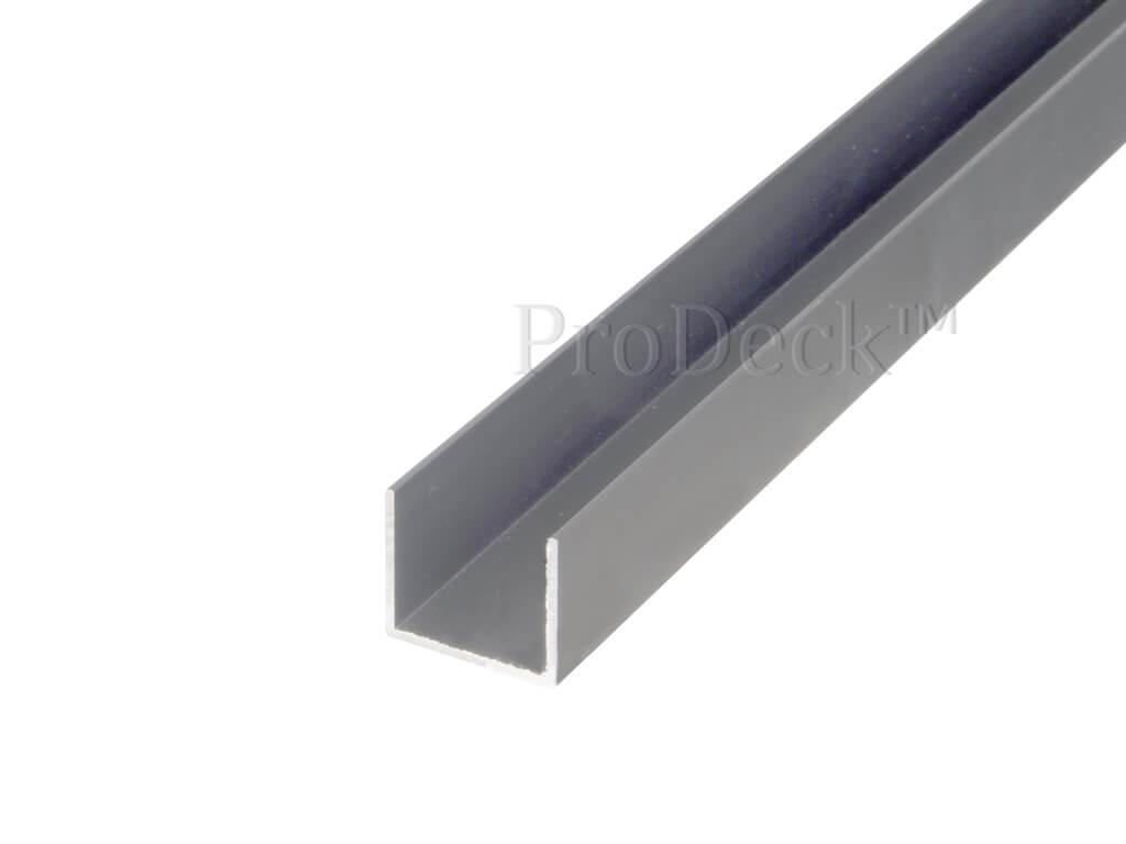 U profiel aluminium grijs