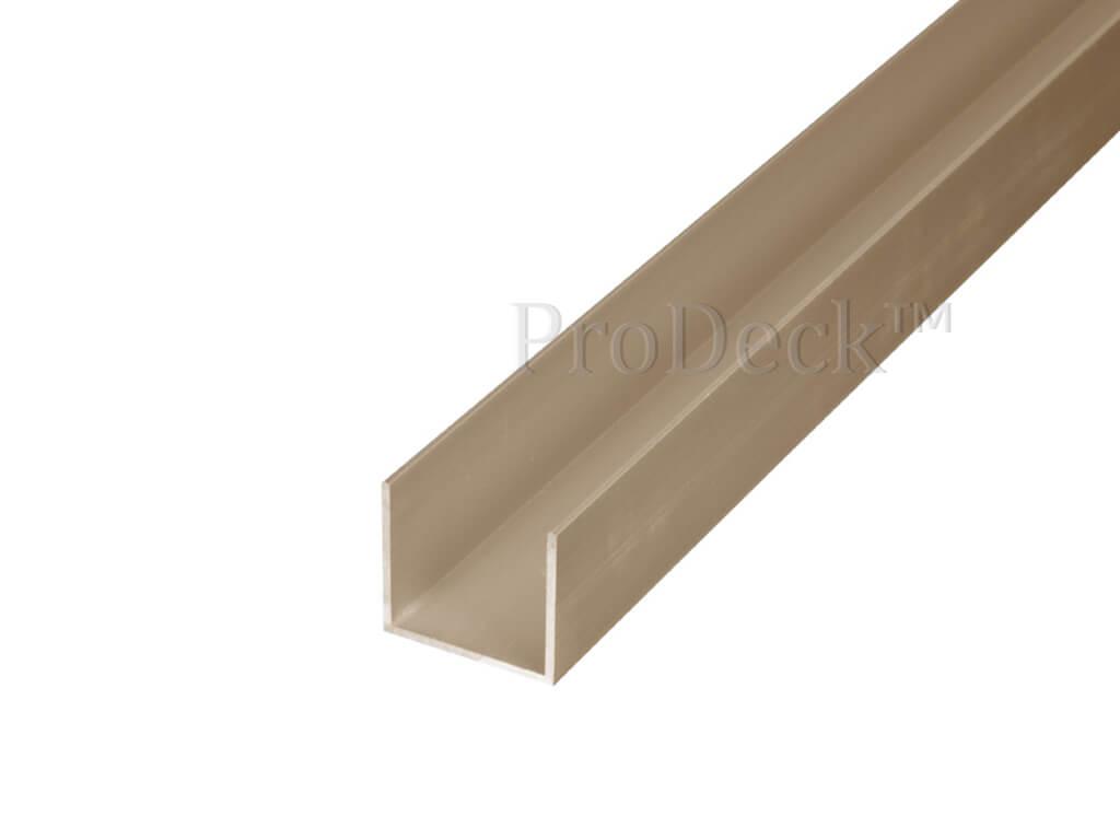 U profiel aluminium teak