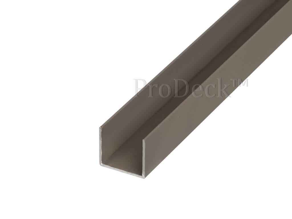 U profiel aluminium vergrijsd bruin