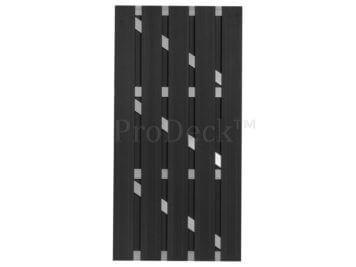 Deur • composiet • luxe deur • massieve planken • antraciet • 4 aluminium dwarsbalken • 90×180 cm