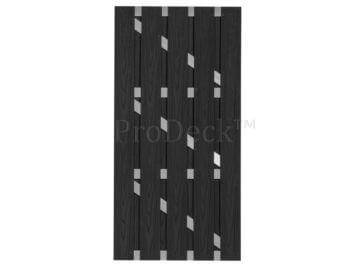 Deur • composiet • luxe deur • massieve planken • antraciet houtnerf • 4 aluminium dwarsbalken • 90×180 cm