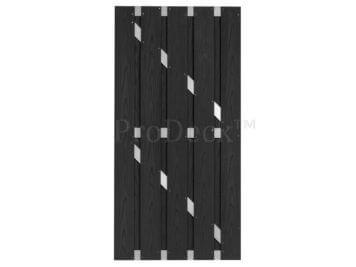 Deur • budget • composiet • antraciet houtnerf • aluminium dwarsbalken • 90×180 cm