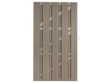 Deur • composiet • vergrijsd bruin • vergrijsd bruin gecoate aluminium dwarsbalken • 100×180 cm