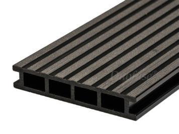 Duofuse • vlonderplank • holkamer • composiet • graphite black • 400×16,2×2,8 cm • breedribbel