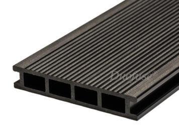 Duofuse • vlonderplank • holkamer • composiet • graphite black • 400×16,2×2,8 cm • fijnribbel