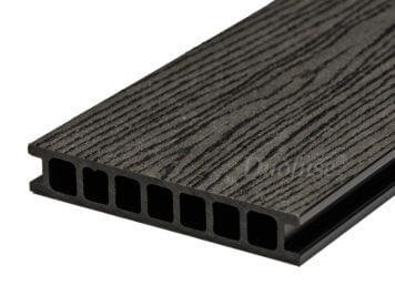 Duofuse • vlonderplank • holkamer • composiet • graphite black • 400×16,2×2,8 cm • houtnerf