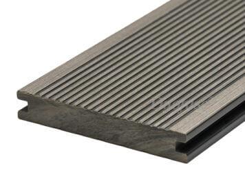 Duofuse • vlonderplank • massief • composiet • stone grey • 400×14,2×2,3 cm • fijnribbel