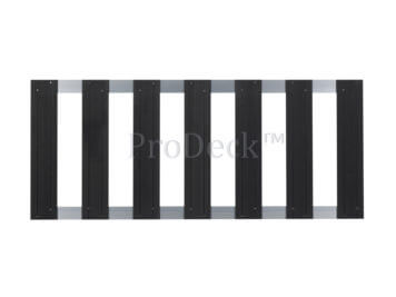 Tuinhek • composiet • antraciet • 2 aluminium dwarsbalken • 75×180 cm