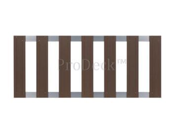restant-56: tuinhek • composiet • bruin • gebruikt • 2 aluminium dwarsbalken • 75×180 cm