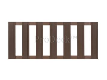 Tuinhek • composiet • bruin • 2 aluminium bruin gecoate dwarsbalken • 75×180 cm