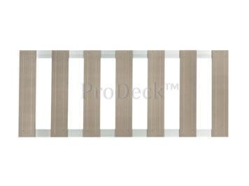 Tuinhek • composiet • vergrijsd bruin • 2 aluminium dwarsbalken • 75×180 cm