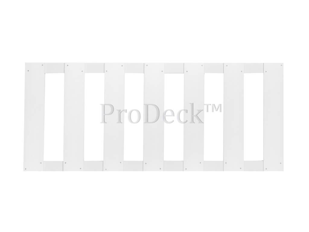 Tuinhek composiet helder wit gelamineerd 2 aluminium wit gecoate dwarsbalken 75x180cm