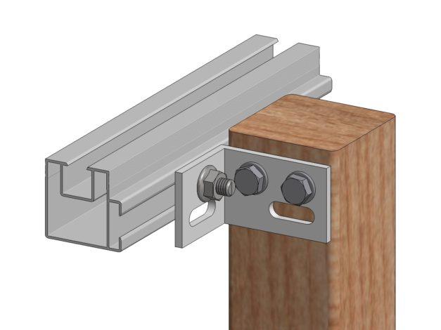 Multihoek • voor Aslon® aluminium onderbalk 4 x 4 cm • voorgemonteerde bouten en moeren