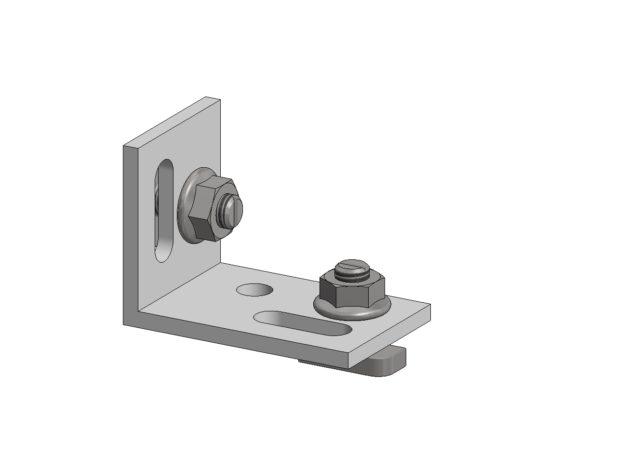 Multihoek • voor Aslon® aluminium onderbalk 4 x 4 cm of 4 x 7,5 cm • en bouten met zelf borgende moeren