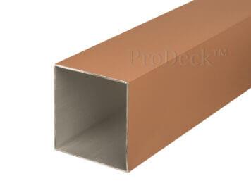 Schuttingpaal • aluminium • teak gecoat • 270x10x10 cm