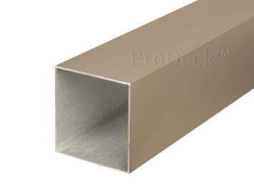 restant-57: schuttingpaal • aluminium • vergrijsd bruin gecoat • met schade • 270x10x10 cm