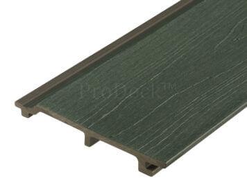Rabat plank extra hoog • composiet • donkergroen • houtnerfreliëf • gelamineerd • 5,90 m