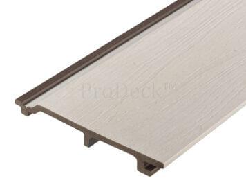 Rabat plank extra hoog • composiet • wit • houtnerfreliëf • gelamineerd