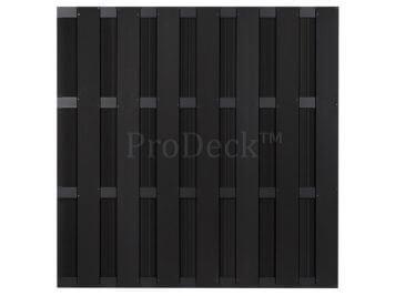 Basic schutting • composiet • antraciet • 4 antraciet gecoate aluminium dwarsbalken • 180×180 cm