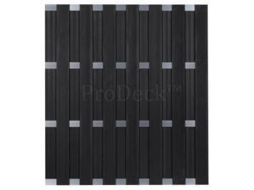 Luxe schutting • composiet • antraciet • 4 aluminium dwarsbalken • 180×200 cm