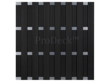 Luxe schutting • composiet • antraciet • 4 aluminium dwarsbalken • 180×180 cm