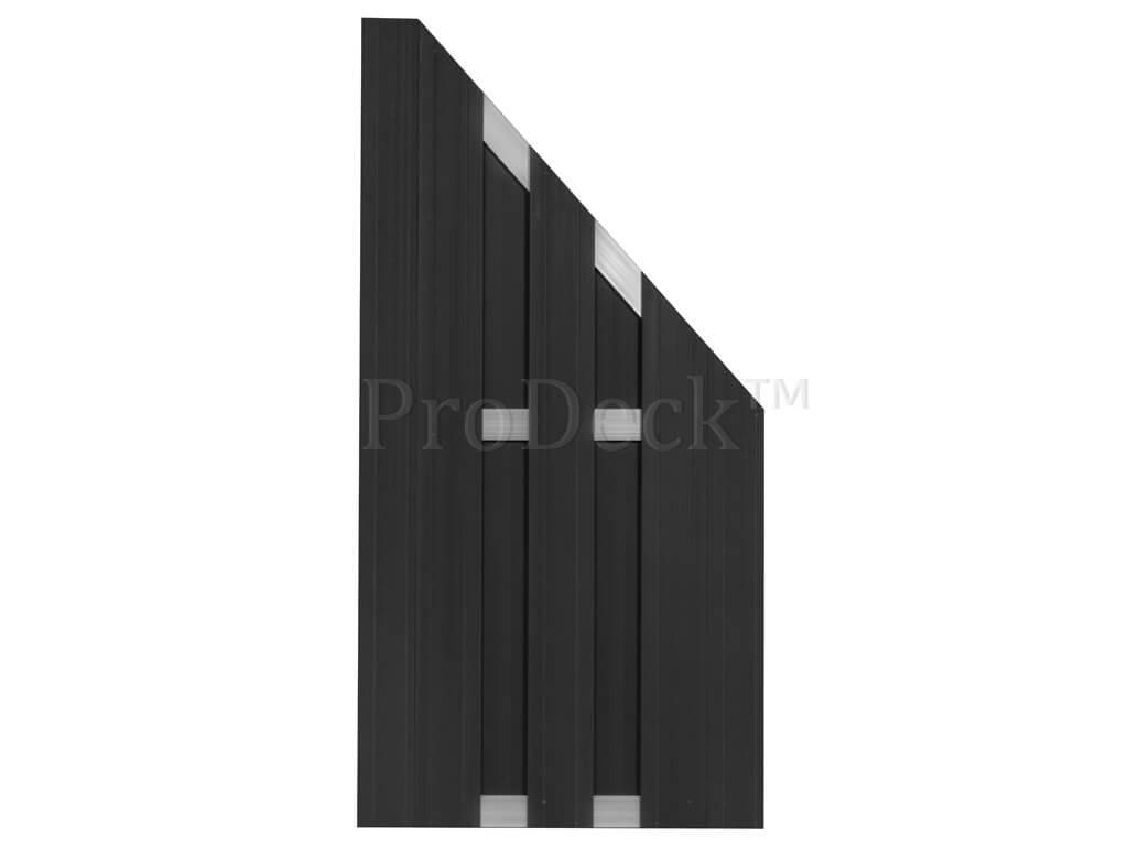 Composiet schutting antraciet aluminium 90x180 schuin aflopend