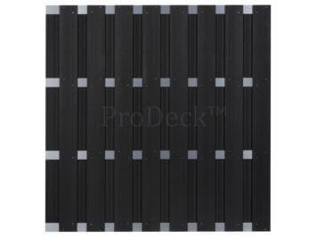 Luxe schutting • composiet • antraciet • 4 aluminium dwarsbalken • 180×180 cm • extra privacy