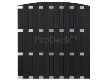 Luxe schutting • toogschutting • composiet • antraciet • 4 aluminium dwarsbalken • 180×190 cm