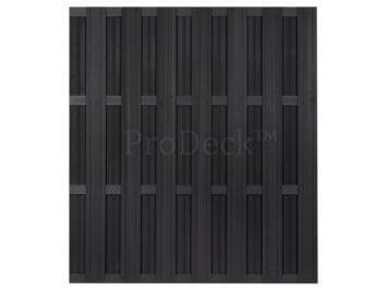 Luxe schutting • composiet • antraciet • 4 antraciet gecoate aluminium dwarsbalken • 180×200 cm