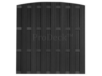 Luxe schutting • toogschutting • composiet • antraciet • 4 antraciet gecoate aluminium dwarsbalken • 180×190 cm