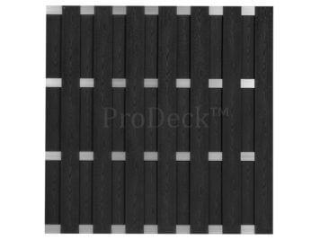 Luxe schutting • composiet • antraciet houtnerf • 4 aluminium dwarsbalken