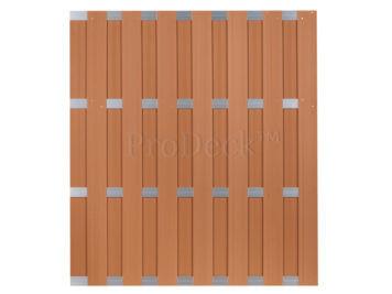 Luxe schutting • composiet • bruin • 4 aluminium dwarsbalken • 180×200 cm