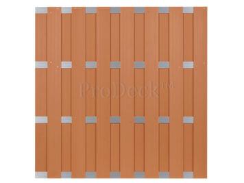 Luxe schutting • composiet • bruin • 4 aluminium dwarsbalken • 180×180 cm