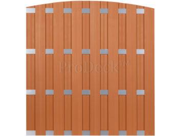 Luxe schutting • toogschutting • composiet • bruin • 4 aluminium dwarsbalken • 180×190 cm