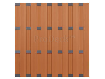 Luxe schutting • composiet • bruin • 4 antraciet gecoate aluminium dwarsbalken • 180×180 cm
