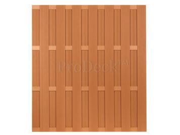 Luxe schutting • composiet • bruin • 4 bruin gecoate aluminium dwarsbalken • 180×200 cm