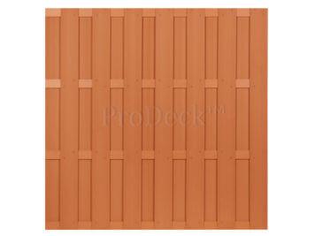 Luxe schutting • composiet • bruin • 4 bruin gecoate aluminium dwarsbalken • 180×180 cm