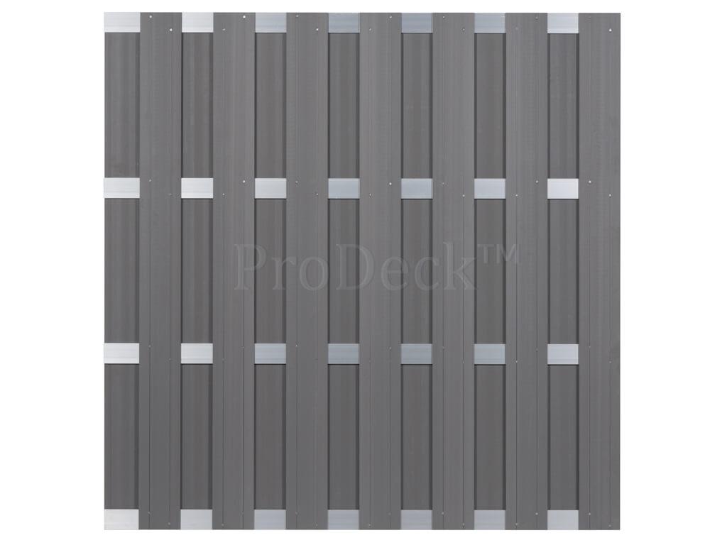 Composiet schutting grijs aluminium