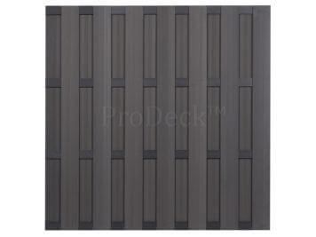 Luxe schutting • composiet • grijs • 4 antraciet gecoate aluminium dwarsbalken • 180×180 cm