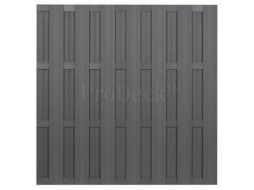 Luxe schutting • composiet • grijs • 4 grijs gecoate aluminium dwarsbalken • 180×180 cm