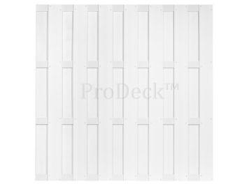 Luxe schutting • composiet • helder wit gelamineerd • 4 helder wit gecoate aluminum dwarsbalken • 180×180 cm
