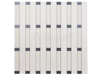Luxe schutting • composiet • ivoorwit • 4 antraciet gecoate aluminium dwarsbalken • 180×180 cm
