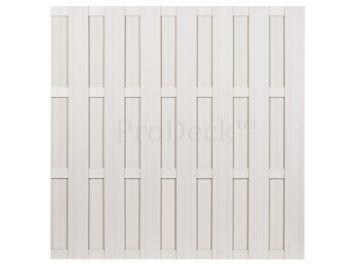 Luxe schutting • composiet • ivoorwit • 4 ivoorwitte aluminium dwarsbalken • 180×180 cm •  uit showroom • stoffig