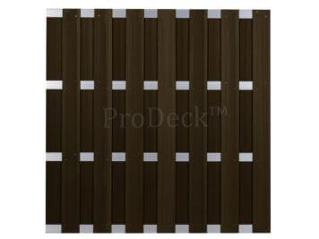 Luxe schutting • composiet • koffiebruin • 4 aluminium dwarsbalken • 180×180 cm