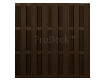 Luxe schutting • composiet • koffiebruin • 4 koffiebruin gecoate aluminium dwarsbalken • 180×180 cm
