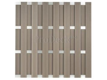 Luxe schutting • composiet • vergrijsd bruin • 4 aluminium dwarsbalken • 180×180 cm